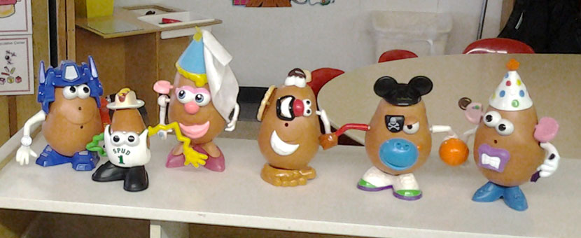 Potato Heads encourage experimentation and play in children at Happy Day Child Care Center