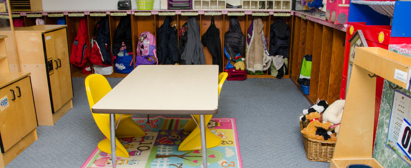 Organized areas for storage and play at Happy Day Child Care Center